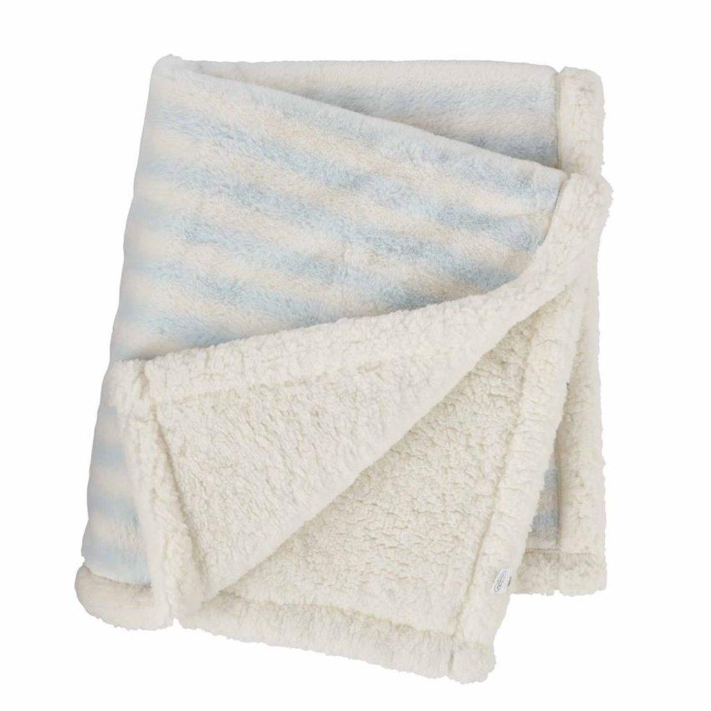 Mud Pie Blue Striped Faux Fur Blanket