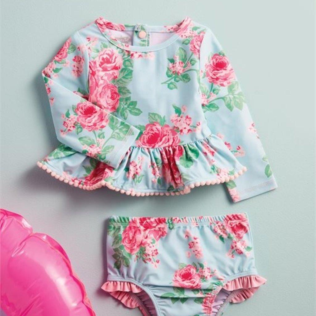 Mud Pie Rose Rashguard Bathing Suit Set