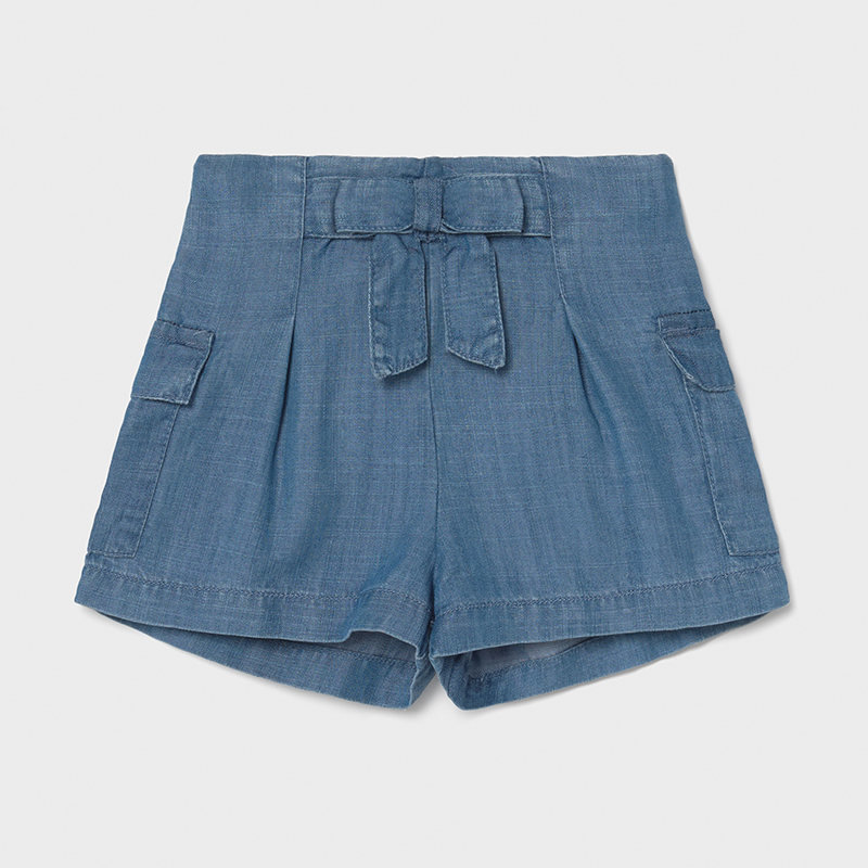Mayoral USA Soft denim front tie shorts