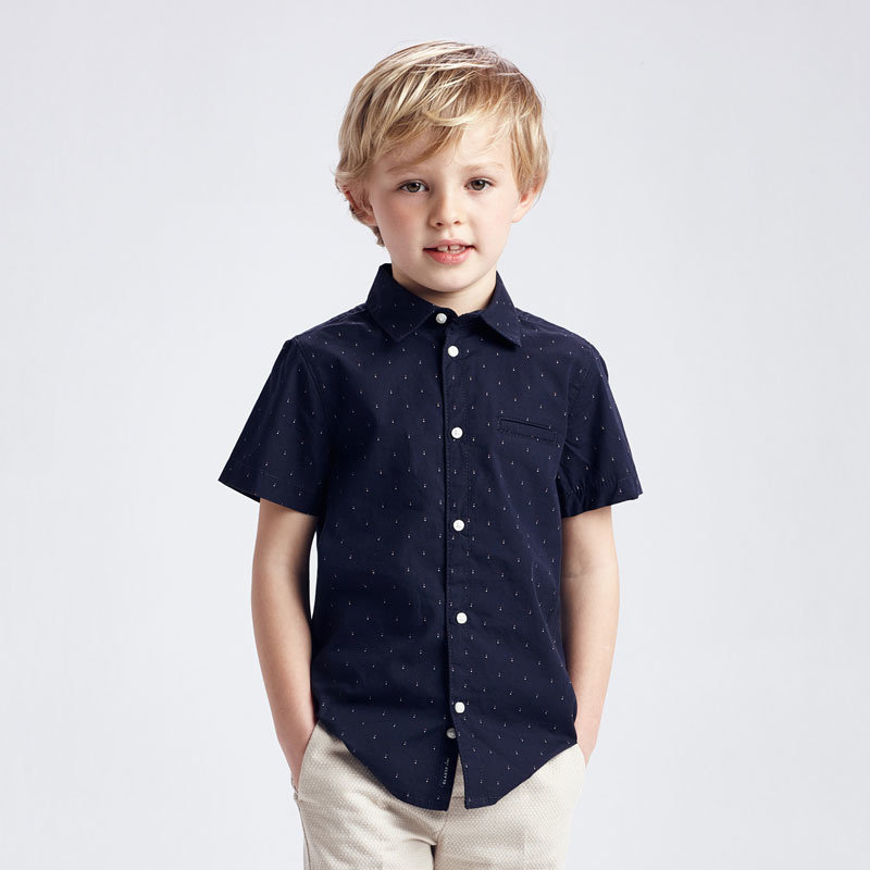 Mayoral USA Navy Micropattern Woven Button Up