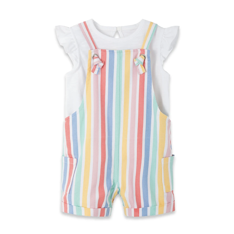 Little Me Multi Stripe Shortall Set