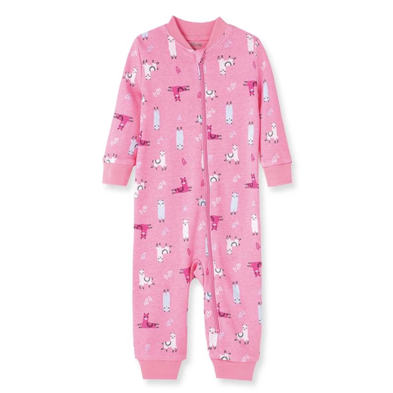 Little Me Llama Zipper Pajamas