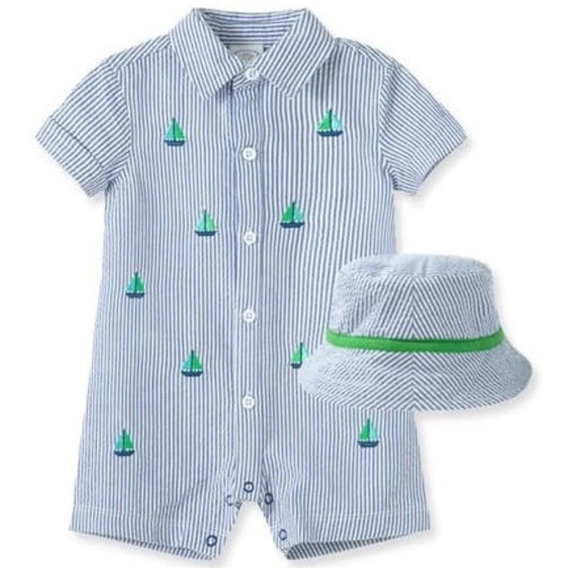 Little Me Sailboat Romper and Hat Set