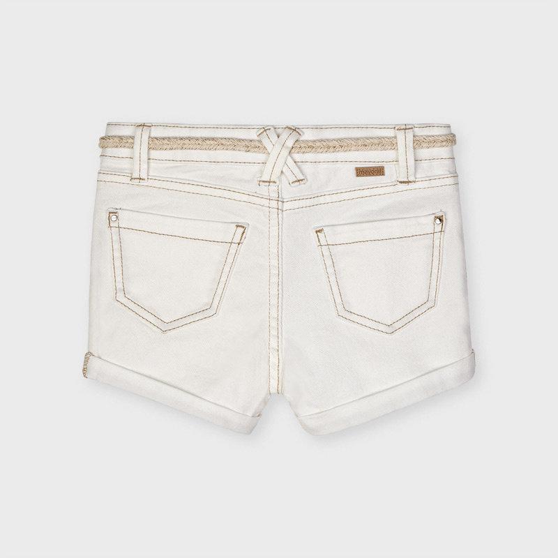 Mayoral USA White Denim shorts with belt