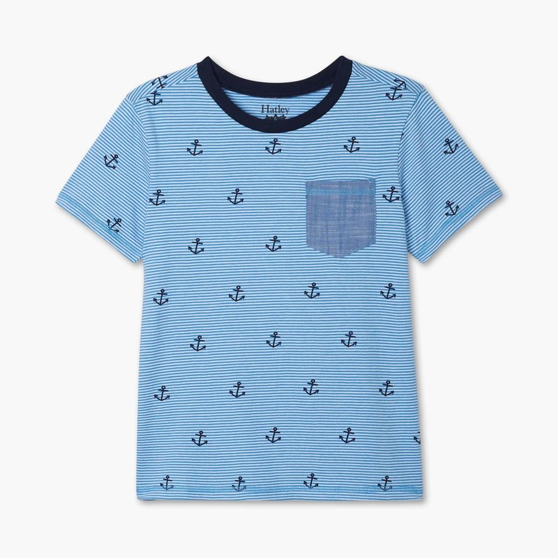 Hatley Blue Anchors front pocket tee