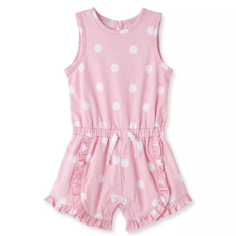Little Me Pink White Polka Dot Short Romper