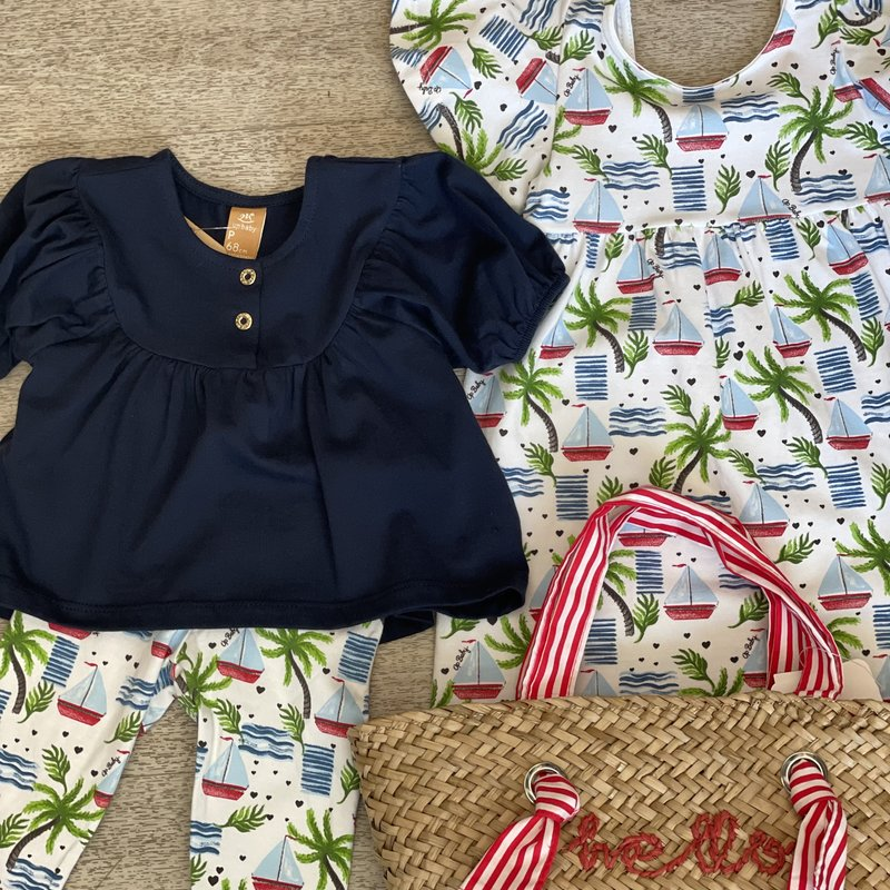 Up Baby by Shop Couture Navy top and sailboat legging set