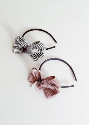 Mae Li Rose Striped Bow Headband