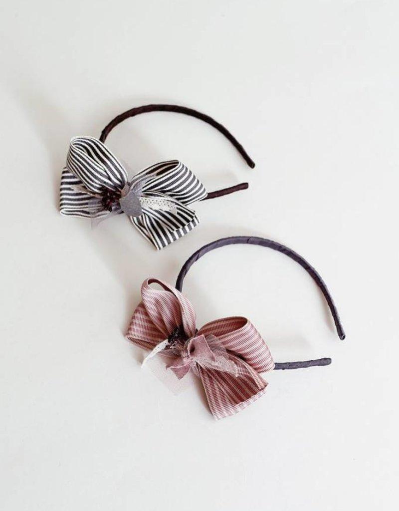 Mae Li Rose Striped Bow Headband