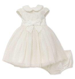 Little Me Ivory Flock Dress