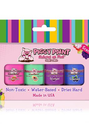 Piggy Paint Scented 4 Polish Box Strawberry Papaya Fruit Blueberry