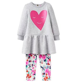 Little Joule Fuchsia Heart Floral Legging Set