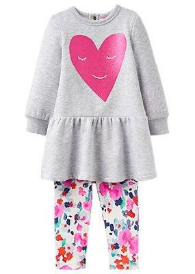 Little Joule Fuchsia Heart Floral Legging Set