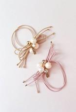 Mae Li Rose Blush Pearl Crystal Hairtie