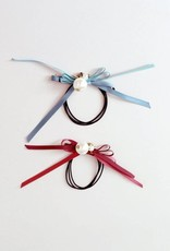 Mae Li Rose Burgundy Pearl ribbon Hairtie