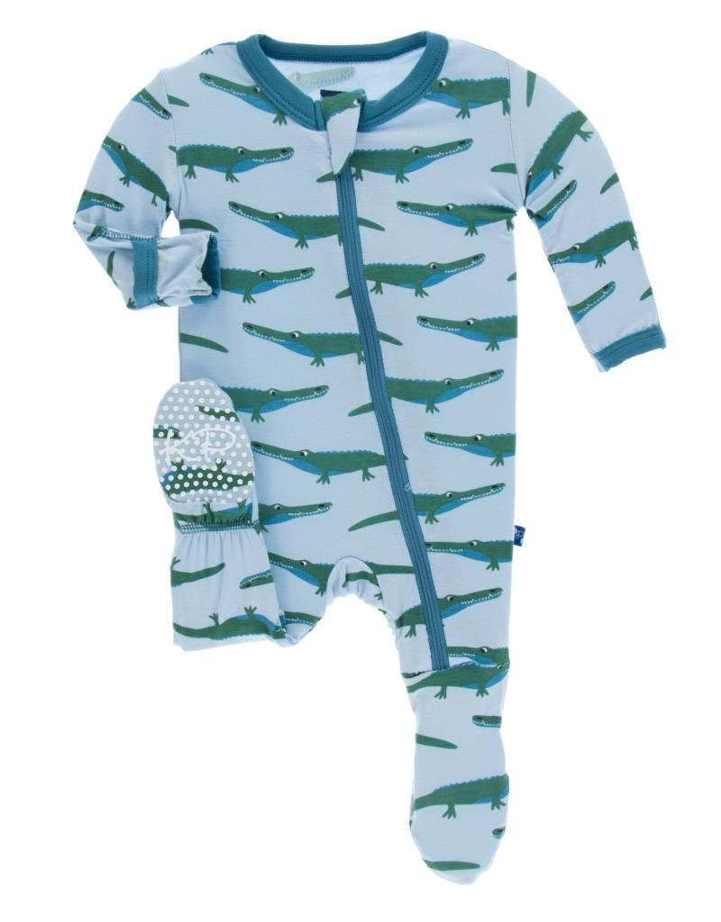 Pond Crocodile Print Footie