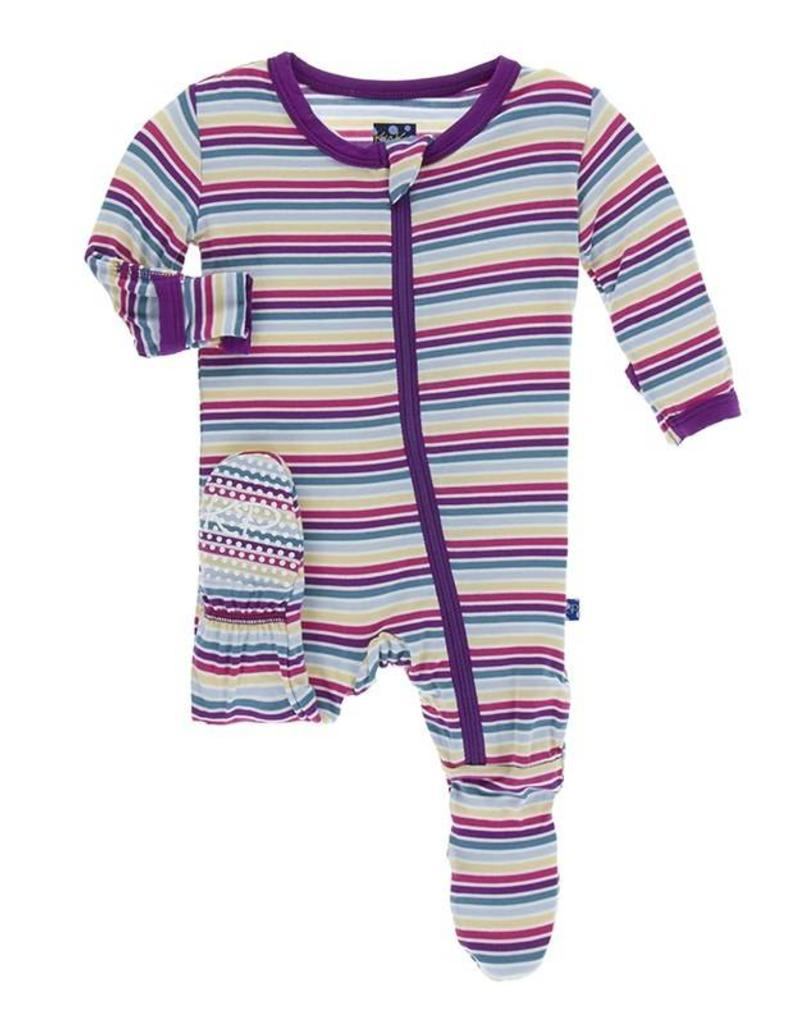 Kickee Pants Girl Perth Stripe Footie