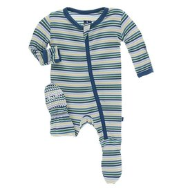 Kickee Pants Boy Perth Stripe Print Footie