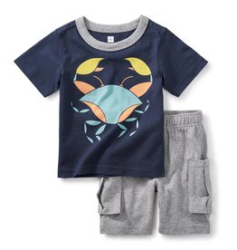 Tea Collection Little Crab Baby Outfit INDIGO