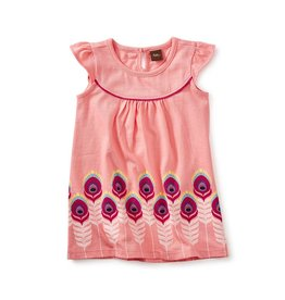 Tea Collection Feather Graphic Baby Dress BUBBLE GUM