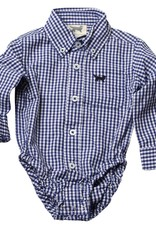Wes and Willy Mini Gingham LS Onesie Blue Moon
