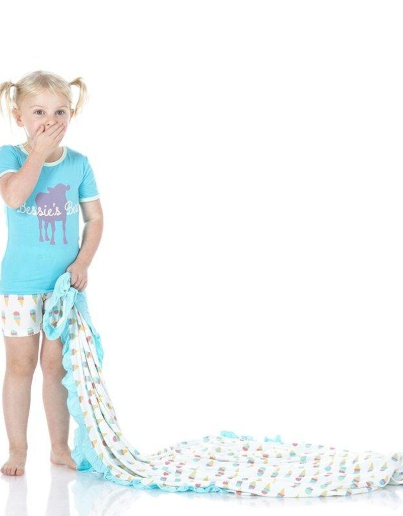 Kickee Pants Natural Ice Cream Ruffle Toddler Blanket