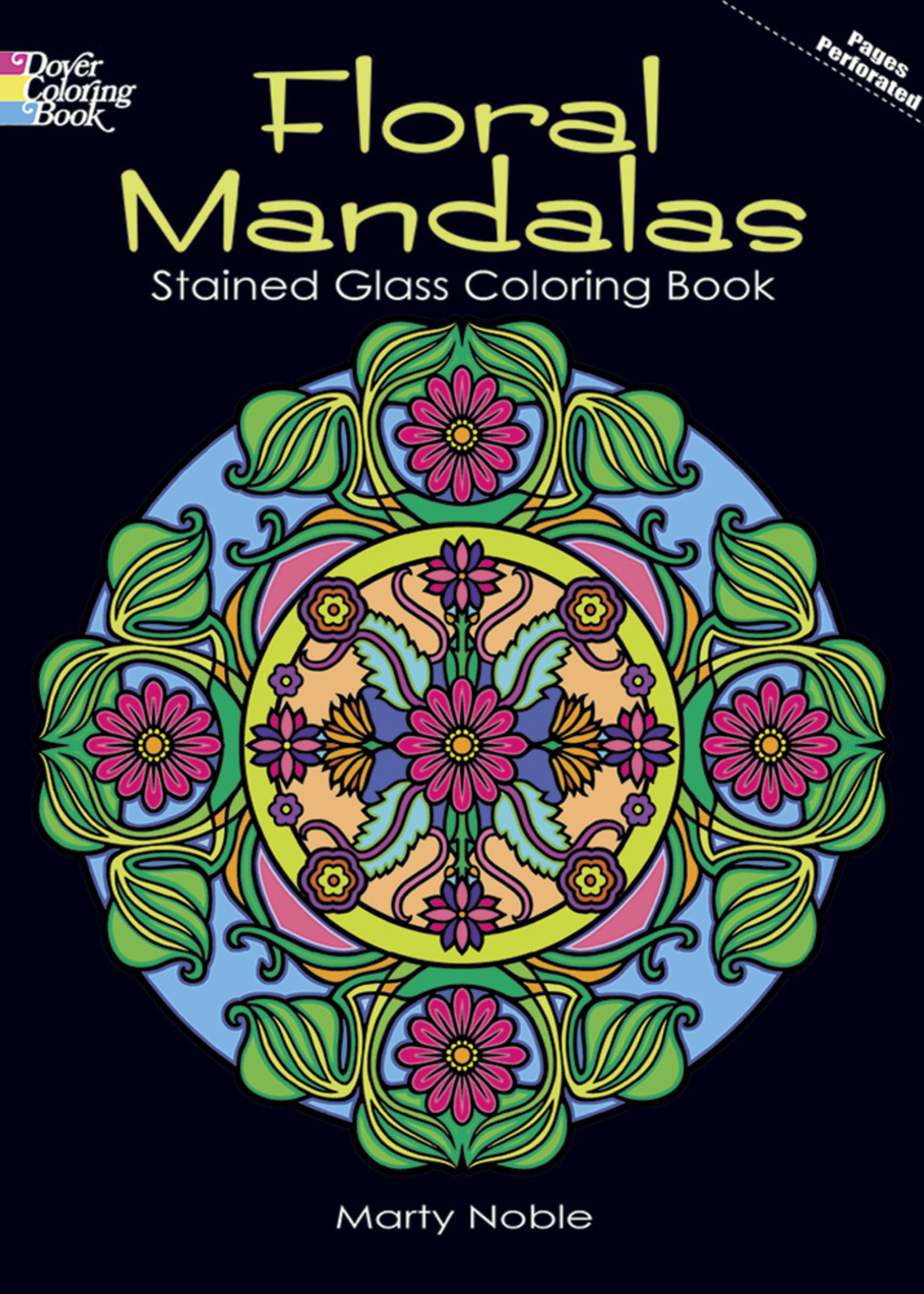 Floral Mandalas Stained Glass Coloring Book - PB