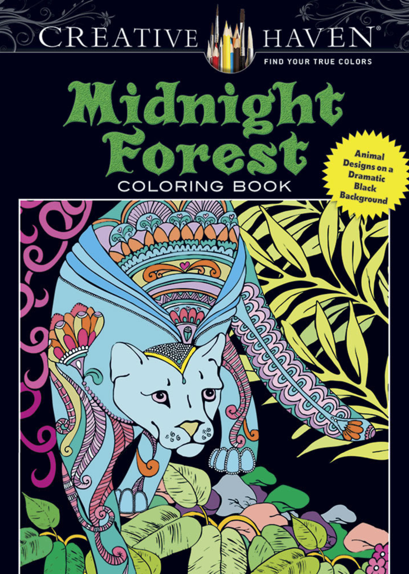 Creative Haven Midnight Forest Coloring Book - Paperback