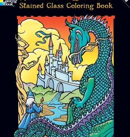 Wizards and Dragons, Stained Glass Coloring Book - PB