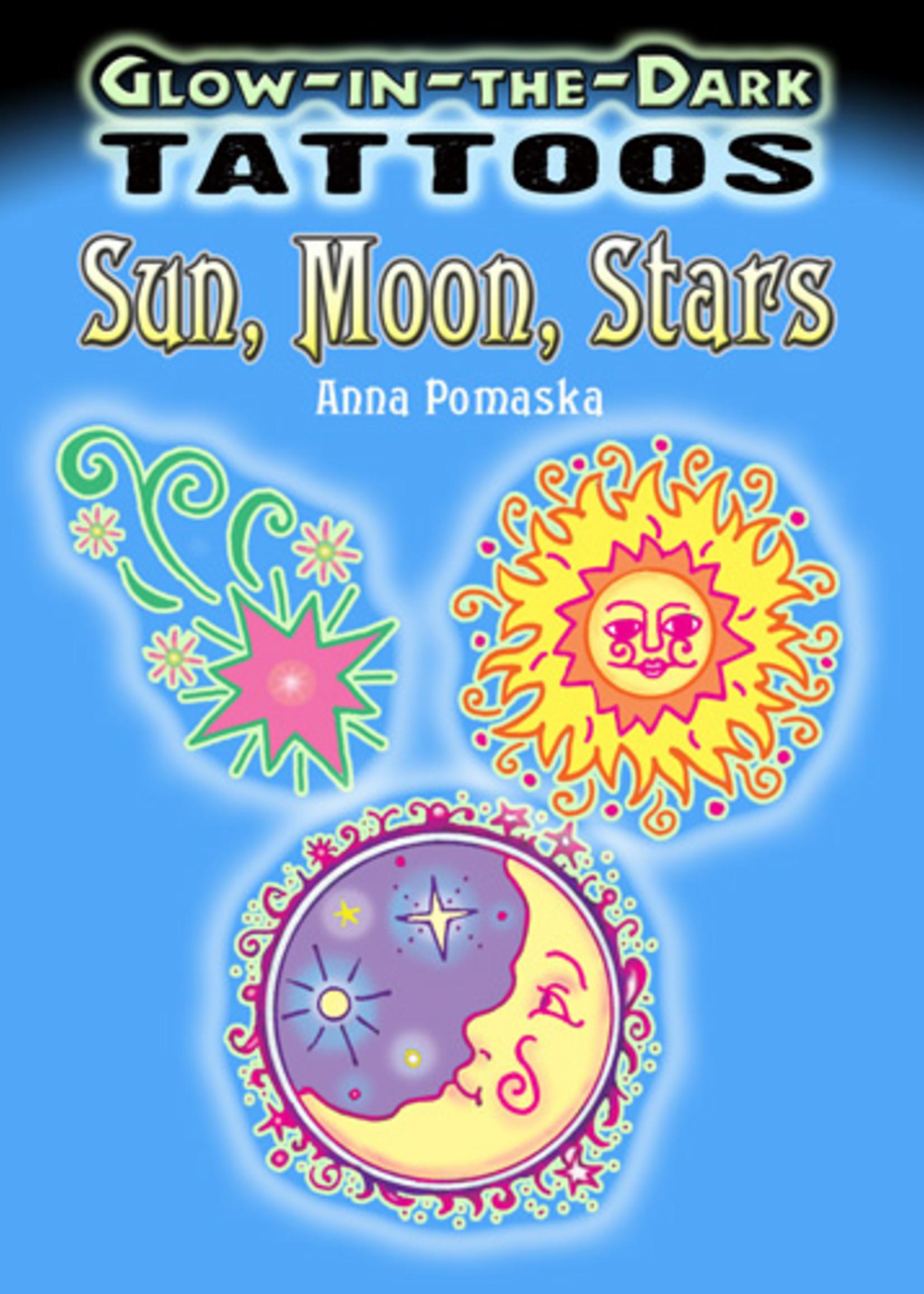 Glow-in-the-Dark Tattoos Sun, Moon, Stars