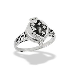 Moon and Stars Capsule Ring, Opens - Size 7