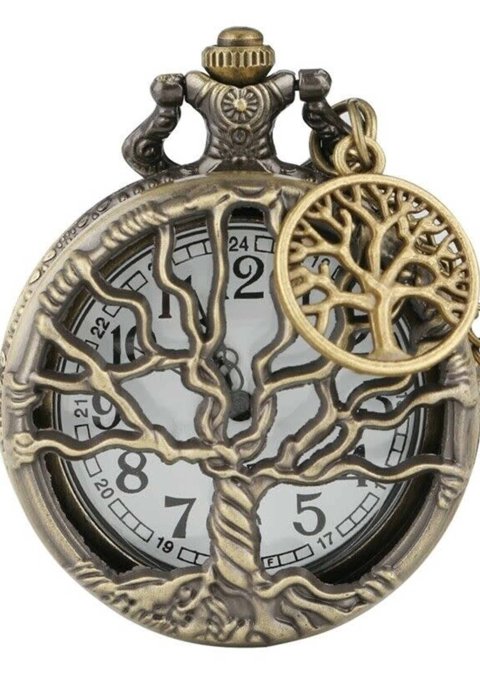Tree of Life Antique Bronze Pocket Watch Necklace