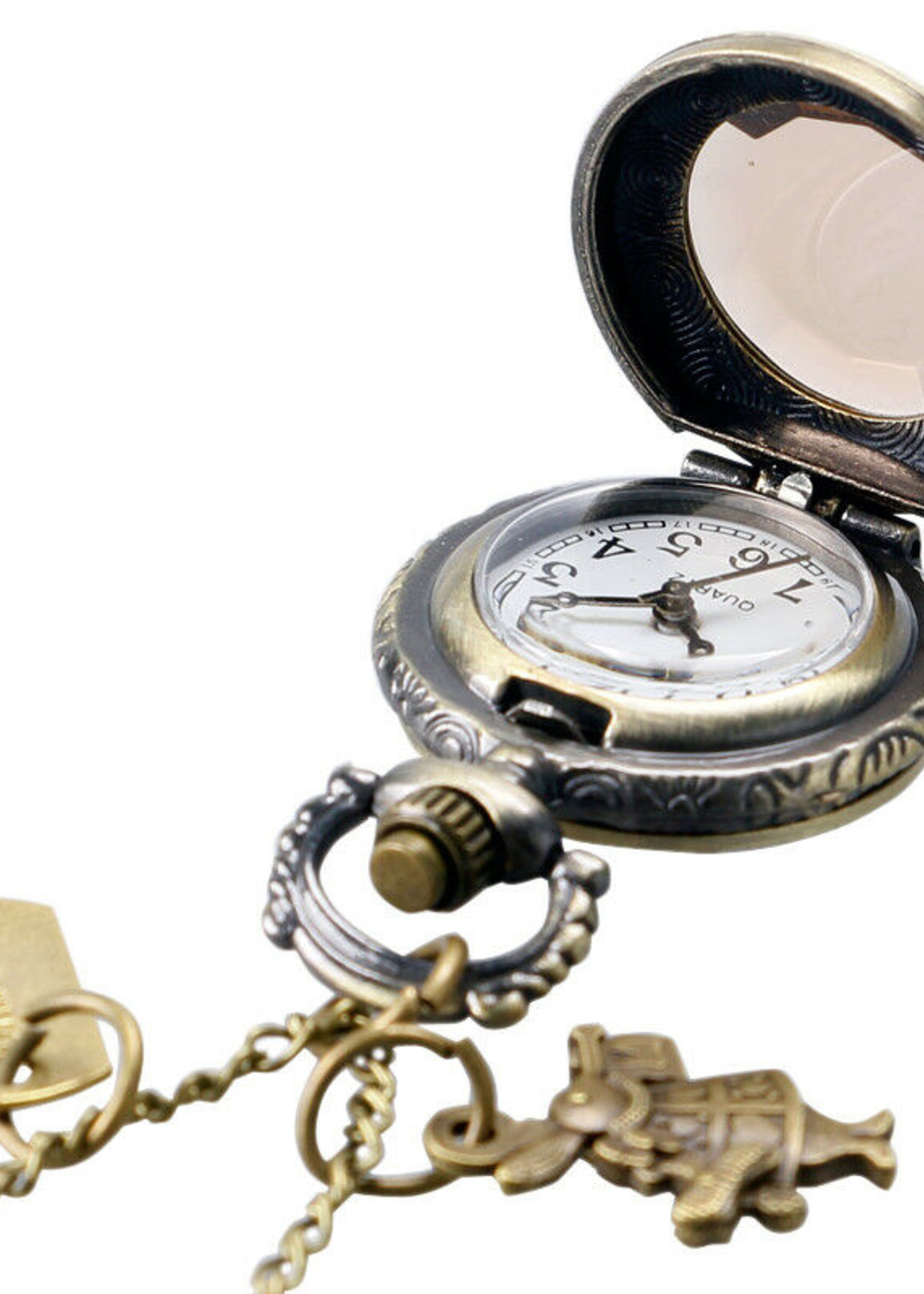 Alice In Wonderland Drink Me Antique Bronze Pocket Watch Necklace