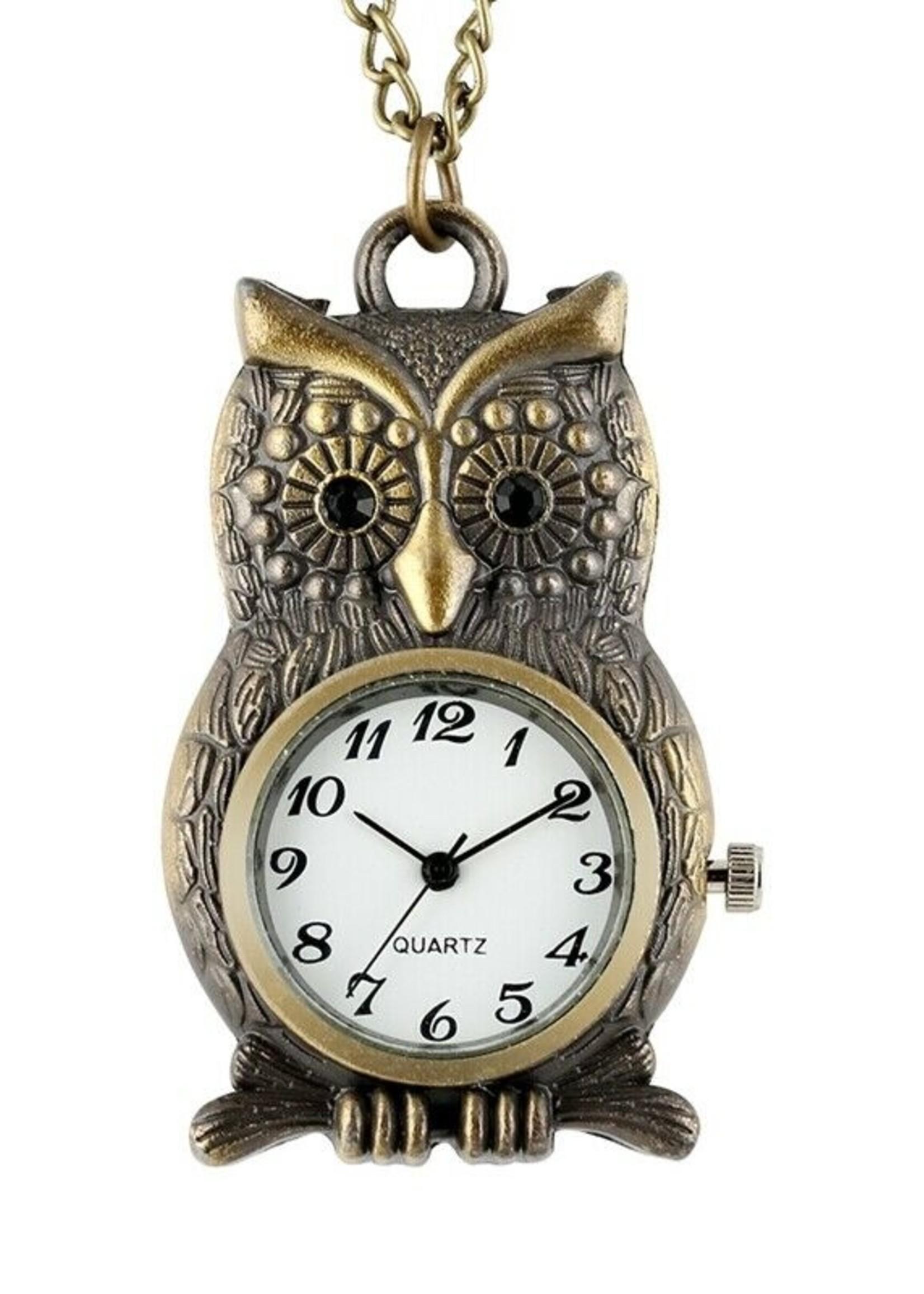 Perched Owl Antique Bronze Pocket Watch Necklace