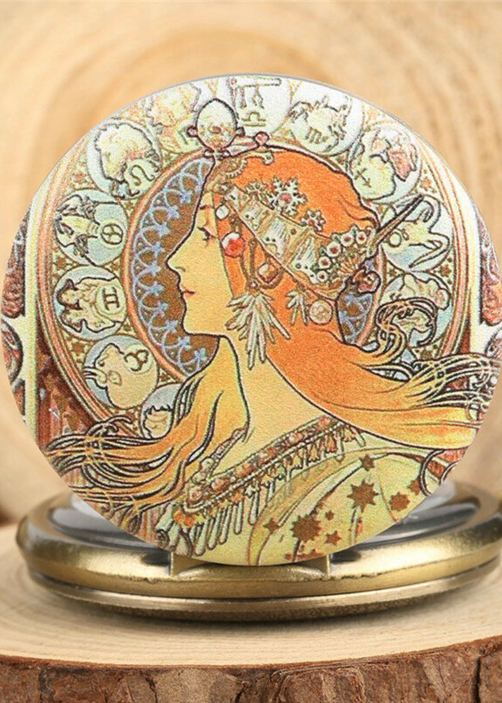 Alphonse Mucha Zodiac  Bronze Pocket Watch Necklace