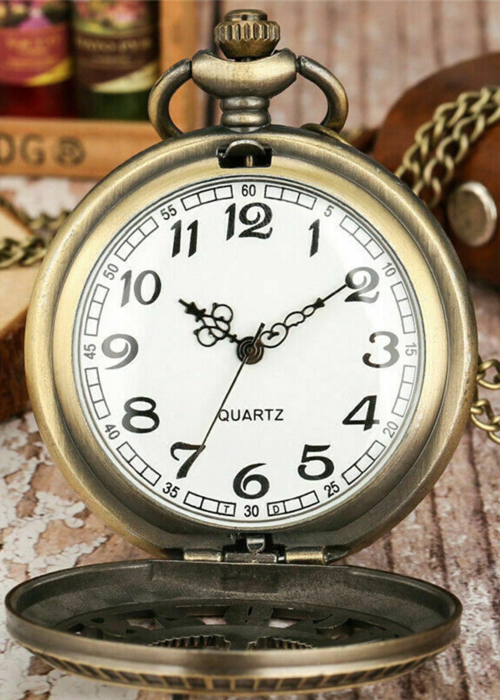 Steampunk Hollow Number Antique Bronze Pocket Watch Necklace