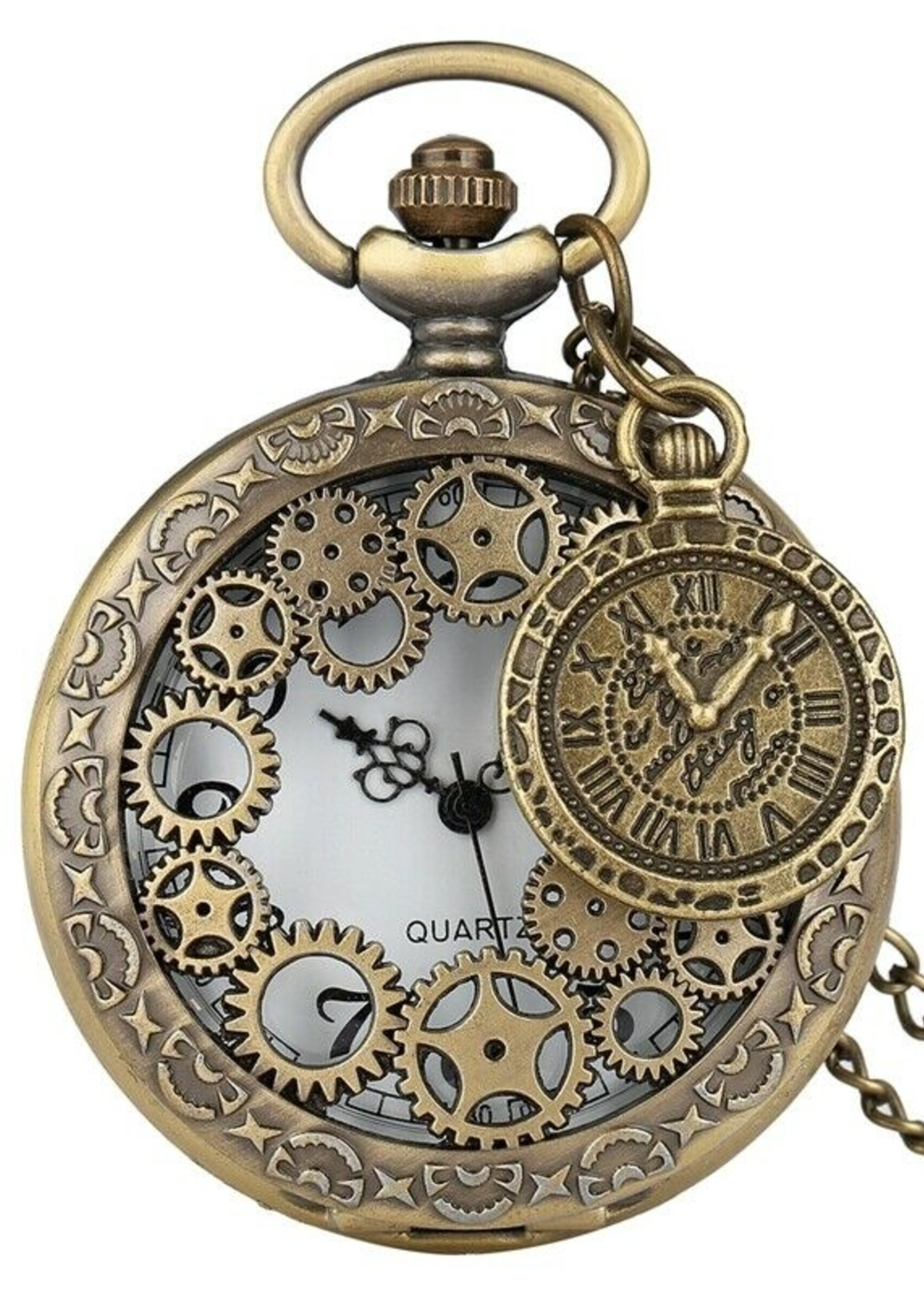 Hugo's Steampunk  Antique Bronze Pocket Watch Necklace