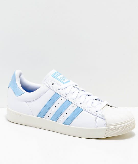 7aa682f79 Adidas Adidas Superstar Vulc X Krooked Skate Shoes - White Light Blue