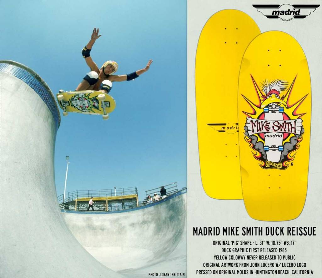 Madrid Madrid Mike Smith Duck Reissue Deck 10.75 x 31 x 17WB - Yellow