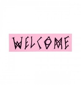 "Welcome Skateboards Welcome 7"" Scrawl Rectangle Sticker Pink"