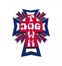 "Dogtown Dogtown Cross Logo Flag 4"" Die Cut Sticker - Blue/Red"