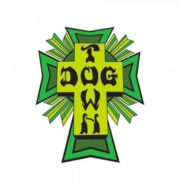 "Dogtown Dogtown Cross Logo Flag 4"" Die Cut Sticker - Green/Yellow"