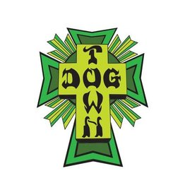 "Dogtown Dogtown Cross Logo Flag 2"" Die Cut Sticker - Green/Yellow"