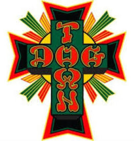 "Dogtown Dogtown Cross Logo Flag 2"" Die Cut Sticker - Green/Yellow/Red"