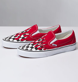 Vans Vans Kids Classic Slip-On Shoes - Checker Flame Racing Red