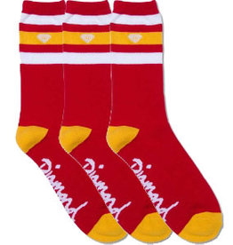 Diamond Diamond Supply Co 3 Stripe High Cut Socks Red/Yellow  3 pack
