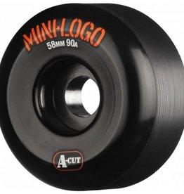 Mini-Logo Mini Logo Skateboards A-cut Wheels Black 58mm 90a (Set of 4)