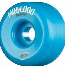 Mini-Logo Mini Logo Skateboards A-cut Wheels Blue 55mm 90a (Set of 4)