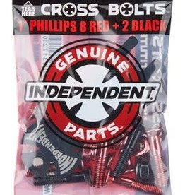 """Independent Independent Cross Bolts Hardware 1"""" - RED + 2 black"""