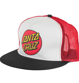 Santa Cruz Skateboards Santa Cruz Classic Dot Mesh Trucker Hat - Black/Whte/Red